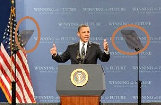 Obama used teleprompter technique