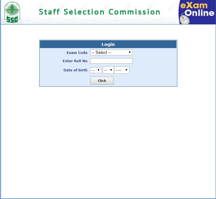 SSC login entry page