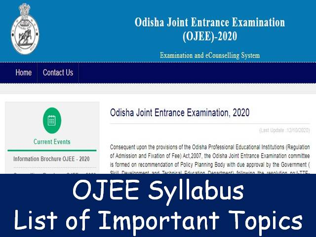 OJEE 2020 Syllabus – Know List of Important subjects  here
