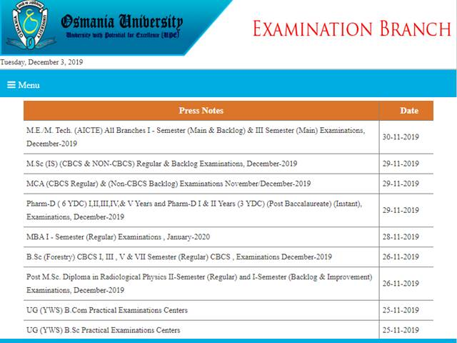 OU MBA Exam Time Table 2019 Released