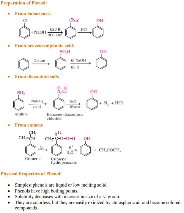 Properties and Preparation of Phenols