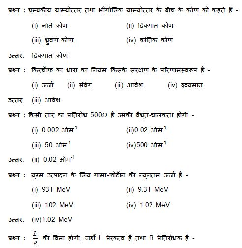 UP Board Class 12th Last Five Years Physics-II MCQ Questions