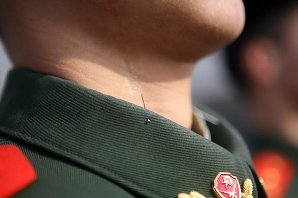 pin is used in the collar of Chinese policeman