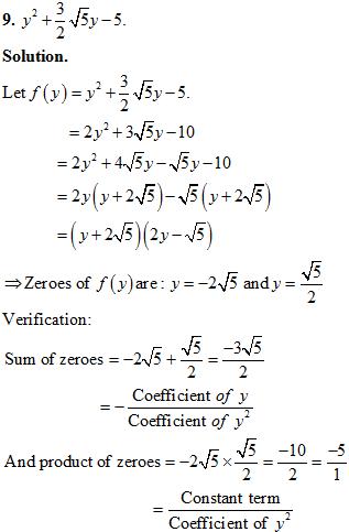 NCERT Exemplar Solution, CBSE, Class 10 NCERT Exemplar problems, Polynomials Class 10