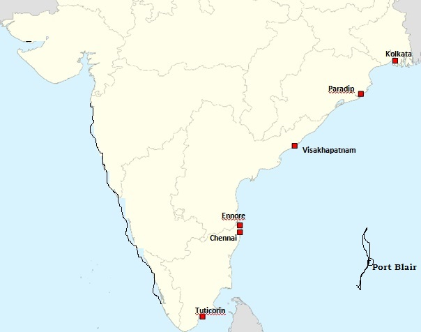 Complete List of major ports on East Coast of India
