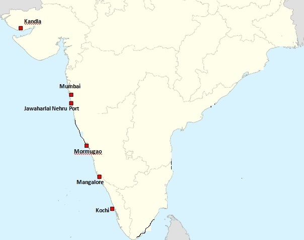 Complete List of major ports on West Coast of India