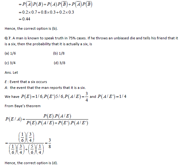 IIT JEE Main Solved Practice Paper Probability