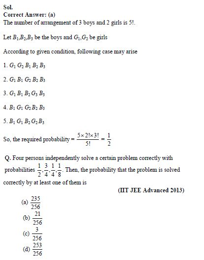 Chapter Notes and Important Questions of Probability for IIT