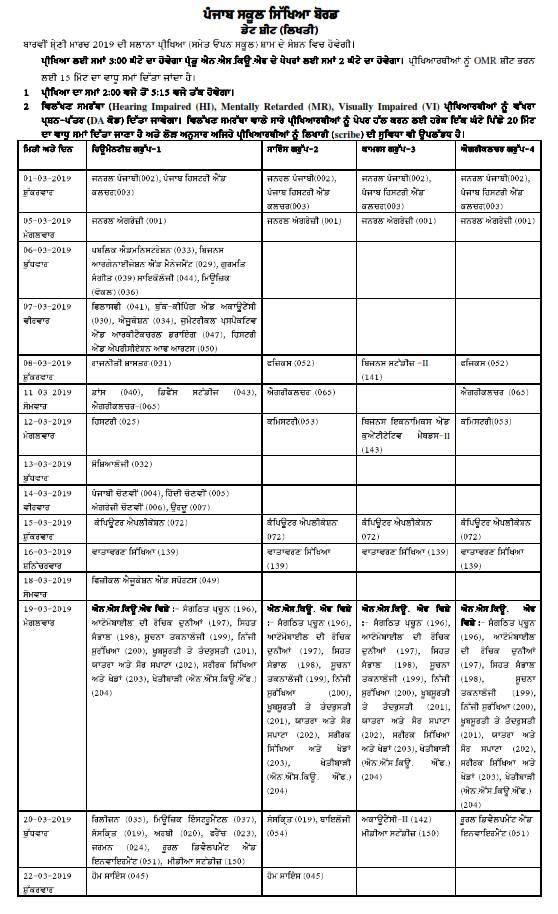 PSEB Class 12th Date Sheet: 1