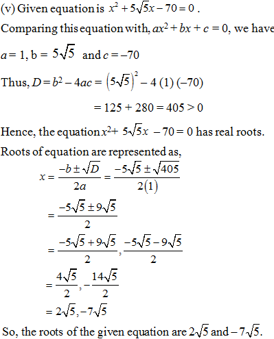 Quadratic Equations Important Questions