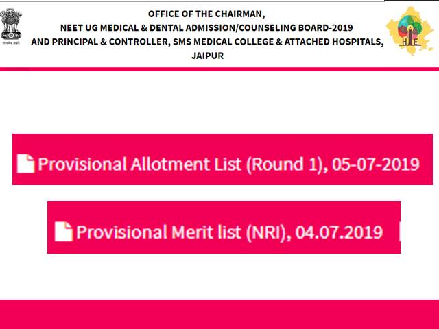 Rajasthan NEET Results 2019: 1st Seat Allotment for MBBS, BDS