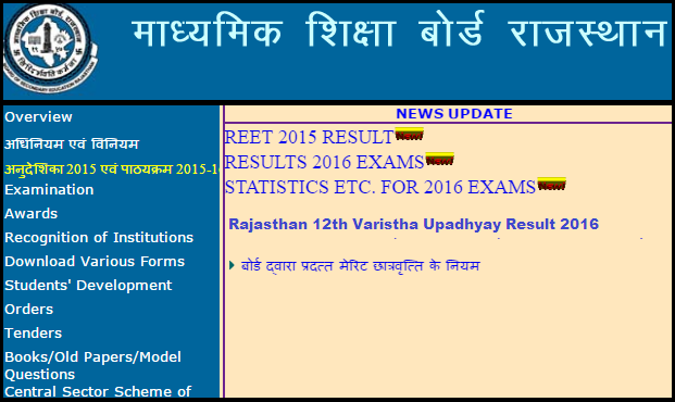 RBSE 12th varistha upadhyay result 2016