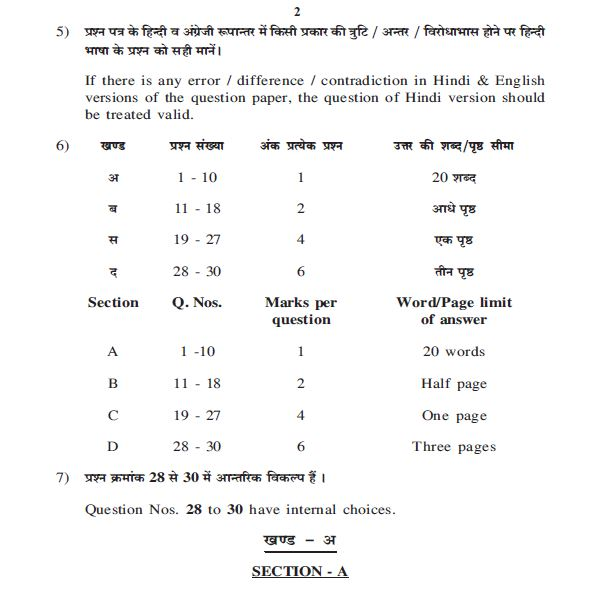 Rajasthan Board HSC last five years Business studies question papers