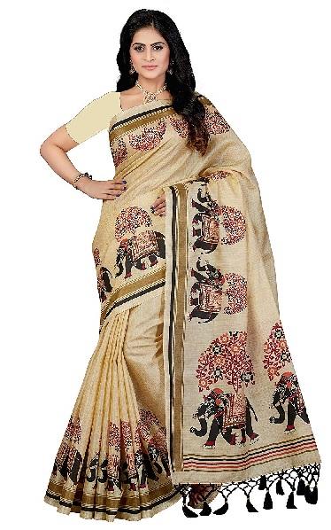 Rani Sahiba art Silk with blouse piece saree