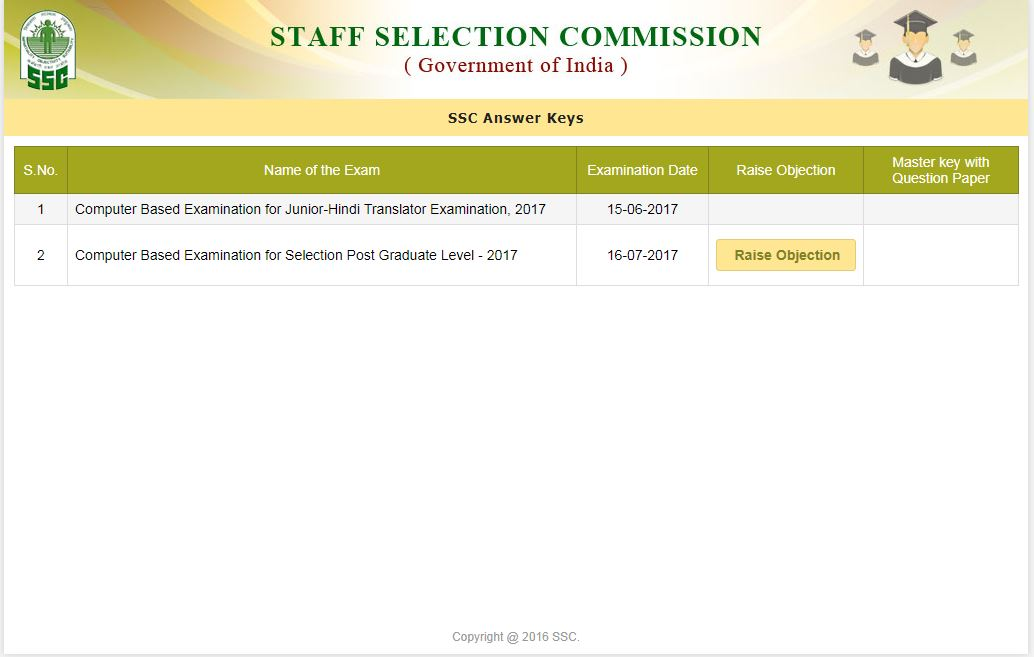 SSC exams page