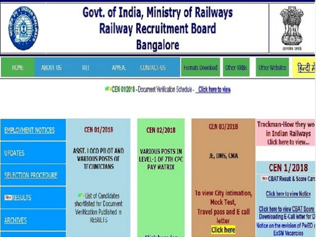 RRB NTPC Bangalore Admit Card 2019 Download @rrbbnc gov in