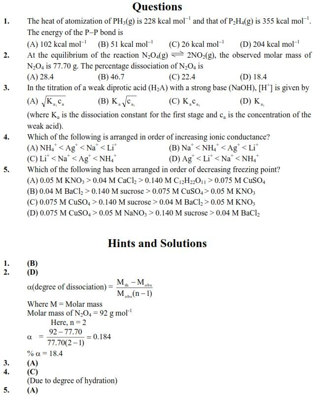 IIT JEE, Chemistry Sample Paper, UPSEE