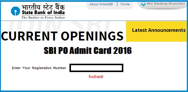 sbi po admit card 2016