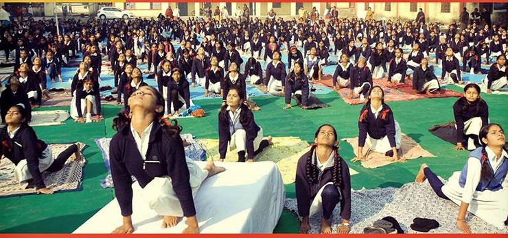 school doing Yoga