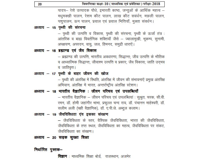rajasthan board science syllabus