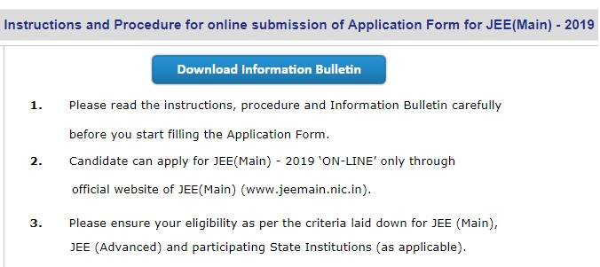JEE Main application 2019 instructions