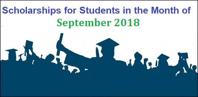 Scholarships for Students in the Month of September 2018