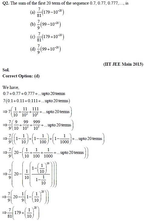 revision notes solved questions of sequences and series for iit