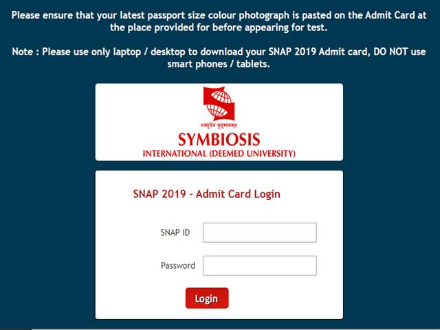 SNAP 2019 Admit Card Today