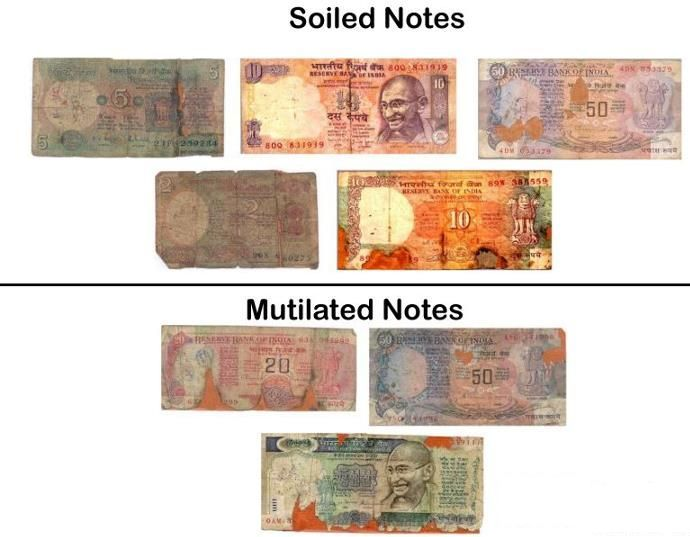 How to change Soiled and mutilated bank Notes as per RBI rules?