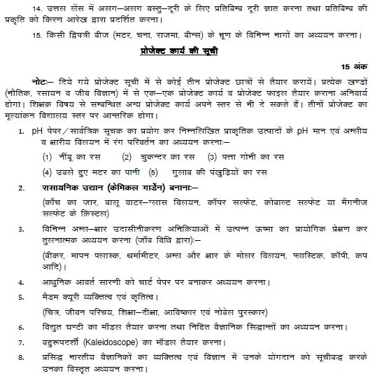 syllabus for class 10th science student