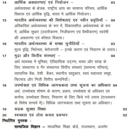 class 10th rajasthan board syllabus