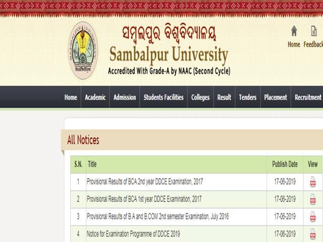 Sambalpur Univeristy Result: DDCE declared UG 2019 exam