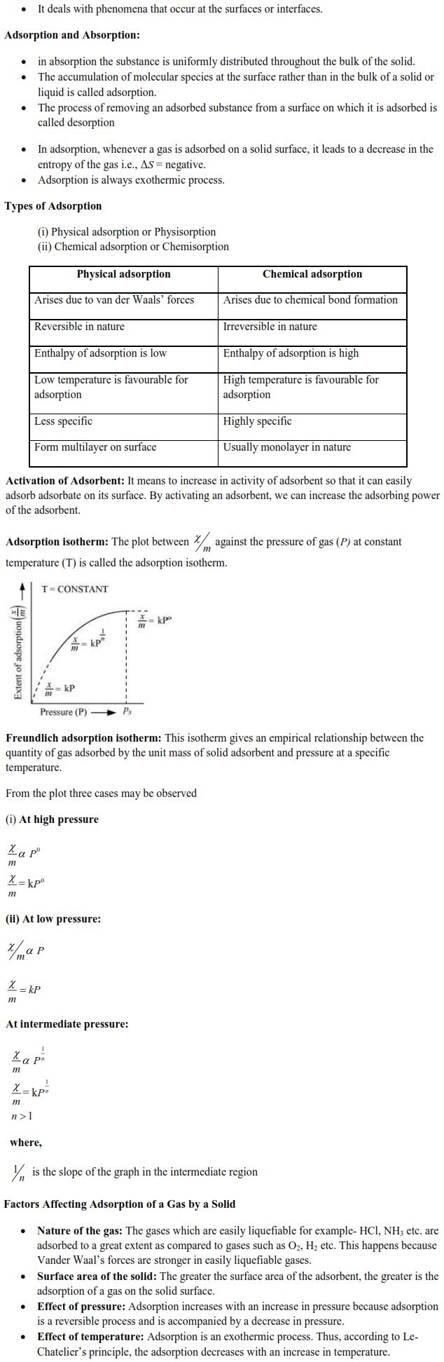 WBJEE Surface Chemistry Concepts