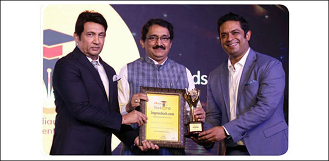From Left : Mr. Shekhar Suman, Prof. Dr. Sanjay B Chordiya & Mr. Bharat Gupta CEO of Jagranjosh.com