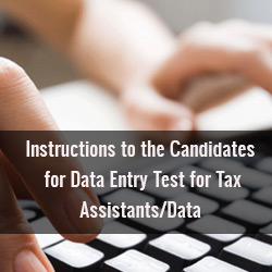 Test for Tax Assistants Data Entry Operators