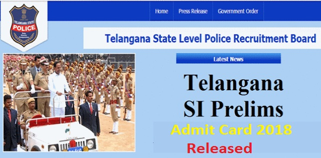 TSLPRB SI Admit Card 2018 Released