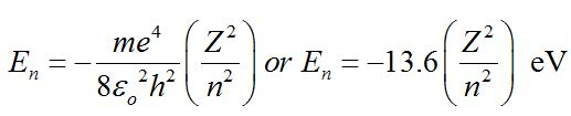 Total Energy of Electron in Bohr's Stationary Orbits