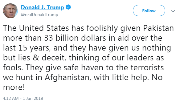 trump tweet pakistan