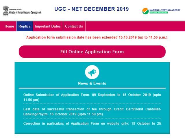 UGC NET 2019 Application Deadline Extended for December Exam