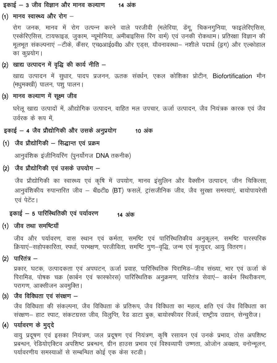 UP Board Class 12th Biology Syllabus 2018 - 2019