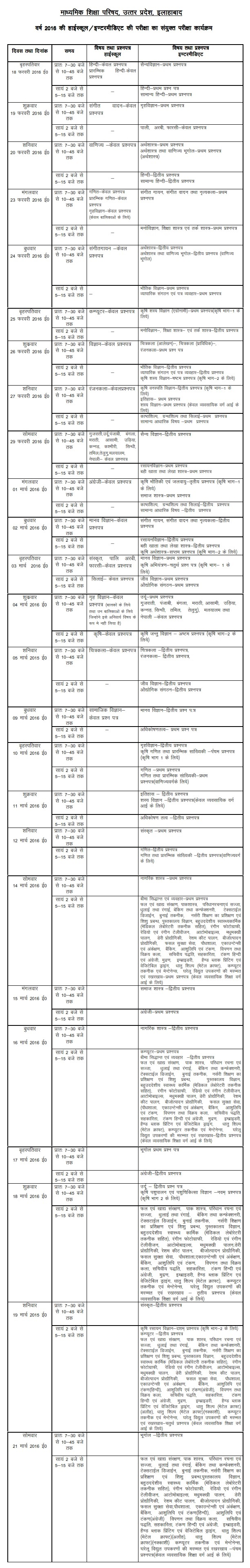 Up board class 10th and 12th time table 2017 for Up board 10th time table