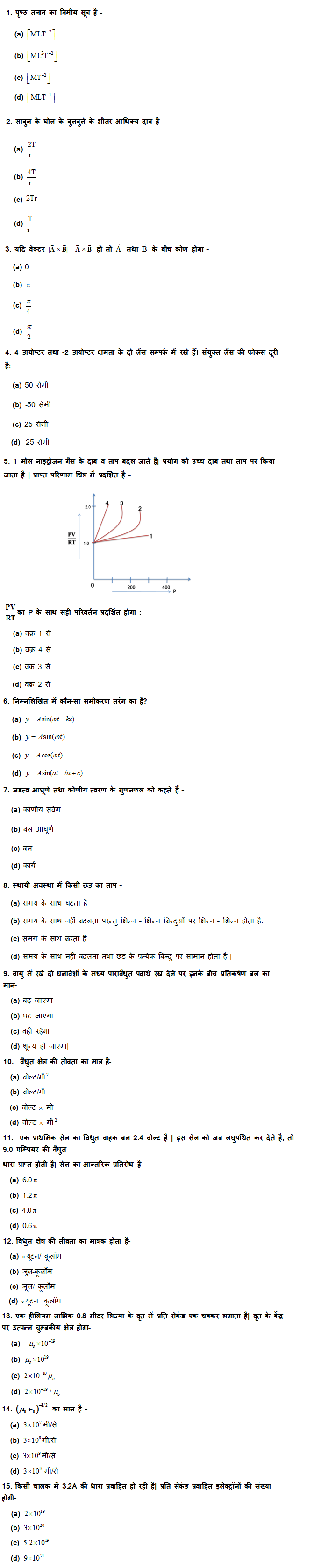 UP Board Class 12th Physics MCQ Test Set: 1 8