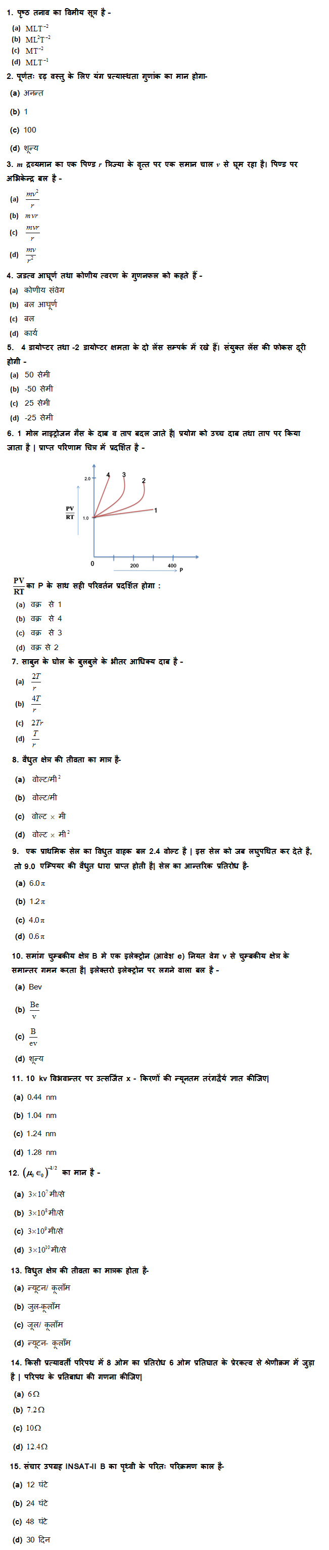 UP Board Class 12th Physics MCQ Test Set: 1 9