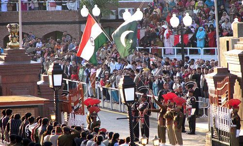 wagah flag down ceremony