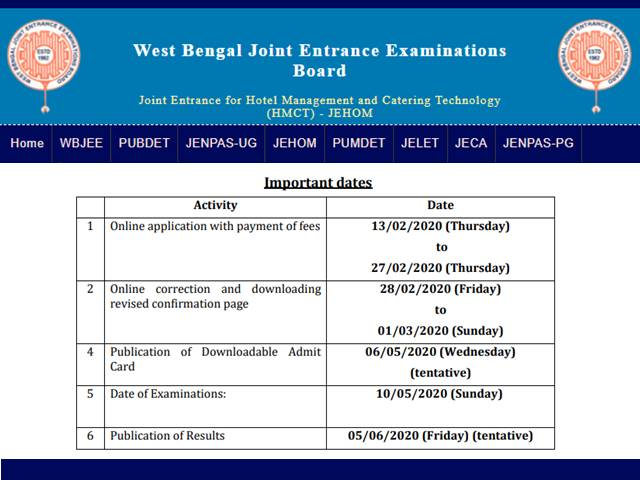 WB JEHOM 2020 Application Begins