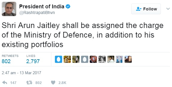 Arun Jaitley gets charge of defence ministry