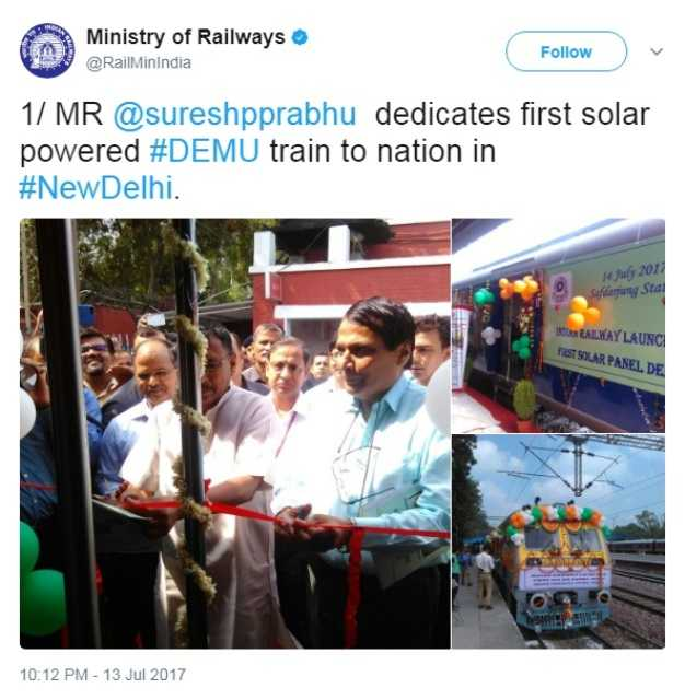 Railways Minister dedicates country's first solar powered DEMU train to nation=
