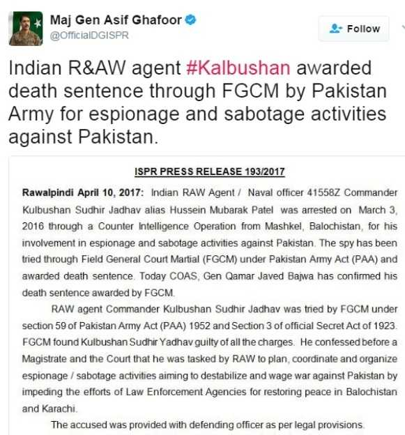 Kulbhushan Jadhav sentenced to death