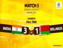 Indian women hockey team beat Belarus