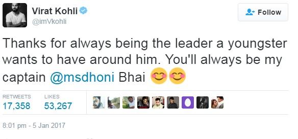 Kohli thanks Dhoni